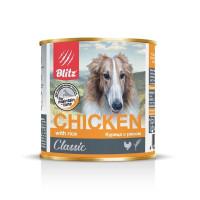 Blitz Консервы для собак всех пород и возрастов, Курица с рисом банка 750г