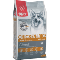 Blitz Classic Сухой корм для взрослых собак Курица и рис 2кг