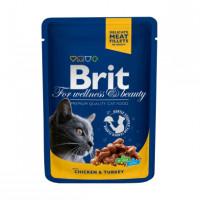 Brit Premium Влажный корм с курицей и индейкой 100г