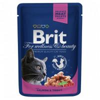 Brit Premium Влажный корм с лососем и форелью для взрослых кошек 100г