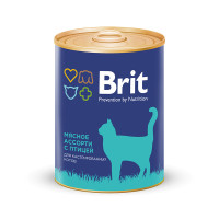 Brit Premium Консервы для стерилизованных кошек и кастрированных котов Мясное ассорти с птицей 340г