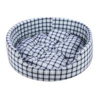Уют FASHION лежак поролоновый с подушкой сине-белая клетка 45х40х15см