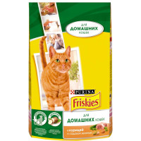 Purina Friskies для домашних кошек с курицей и садовой зеленью 1,5кг