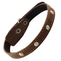 Gamma Ошейник кожаный на синтепоне с украшением, 15мм*400мм