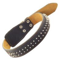 Gamma Ошейник кожаный двойной с украшением Ёж, 36мм*670мм