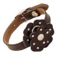 Ошейник-мини кожаный двойной «Цветок» со стразами, 10мм*200мм