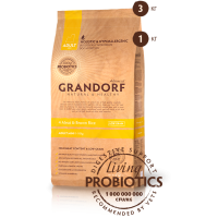 Grandorf Четыре вида мяса с бурым рисом для взрослых собак мелких пород 1кг