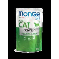 Monge Cat Grill Pouch Паучи для взрослых кошек итальянский кролик 85г