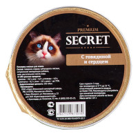 Секрет Премиум консервы для кошек с Говядиной и сердцем 125гр