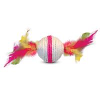 Игрушка для кошек из сизаля Шарик с перьями, d55/90мм