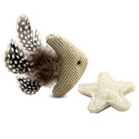 Triol Набор игрушек для кошек из натуральных материалов Рыбка и морская звезда, 110мм; 60мм
