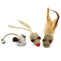 Triol Набор игрушек для кошек из натуральных материалов Три мышонка, 45мм; 50мм; 40мм