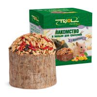 Триол Лакомство в пеньке для мелких грызунов с фруктами 70г