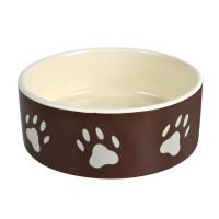 Миска для собаки с рисунком Лапка , 0,3 л / ф 12 см, керамика, коричн./бежевый