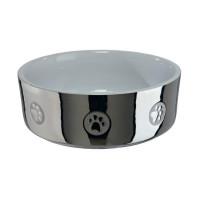 Миска керамическая с рисунком, 0,3 л/ø 12 см, серебряный/белый